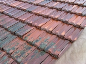 Terracotta roof partly cleaning
